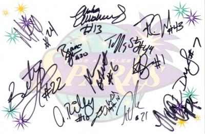 2010 WNBA Los Angeles Sparks team autographed logo card