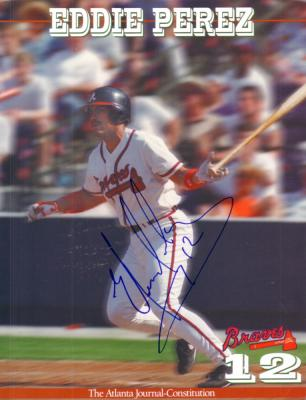 Eddie Perez autographed Atlanta Braves 8x11 photo card