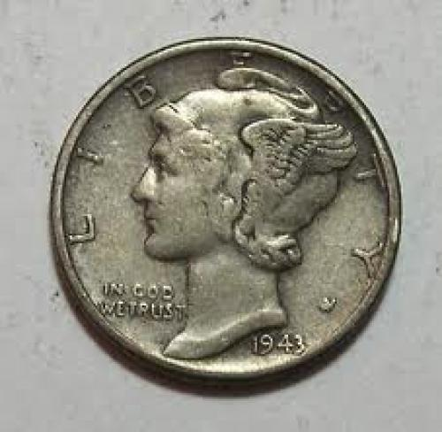 Coins; 1943 Mercury WWII Silver Dime US Coin