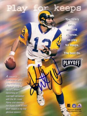 Kurt Warner autographed St. Louis Rams full page magazine photo