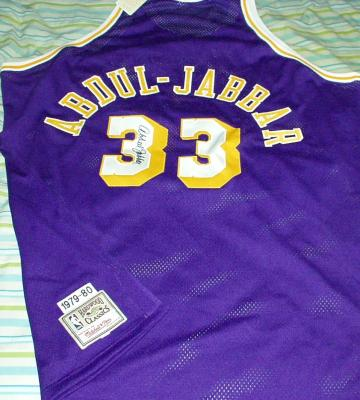 Kareem Abdul-Jabbar autographed Lakers 1979-80 Mitchell & Ness authentic throwback jersey
