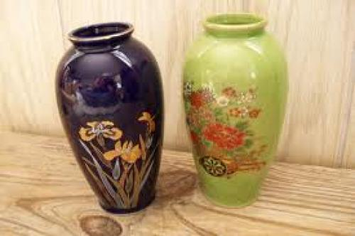 Antique Vases 2 Scenic Gold Gilt Accented Japan