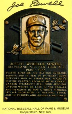 Joe Sewell autographed Baseball Hall of Fame plaque postcard