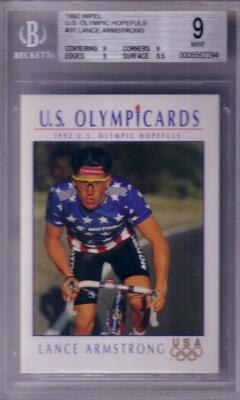 Lance Armstrong 1992 Impel U.S. Olympic Hopefuls Rookie Card graded BGS 9 MINT
