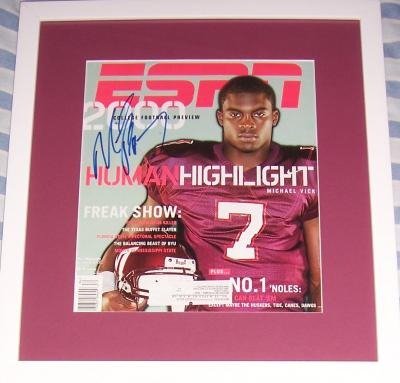 Michael Vick autographed Virginia Tech 2000 ESPN Magazine cover framed