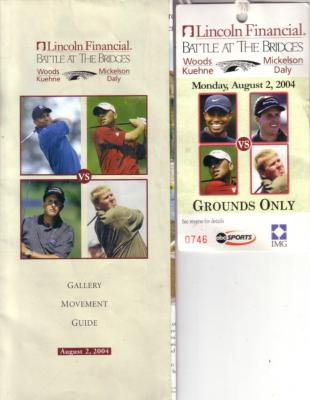 2004 Battle At The Bridges ticket &amp; gallery guide (Tiger Woods Phil Mickelson)