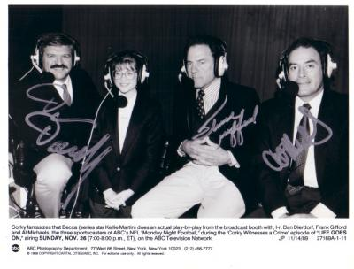 Dan Dierdorf Frank Gifford Al Michaels autographed Monday Night Football 7x9 photo