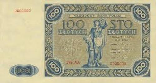 Banknotes; Poland paper money 100 Zlotych, 1947 issue