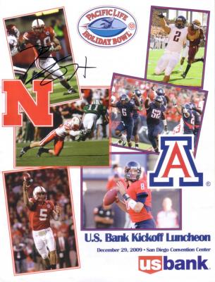 Roy Helu Jr. (Nebraska) autographed 2009 Holiday Bowl lunch program