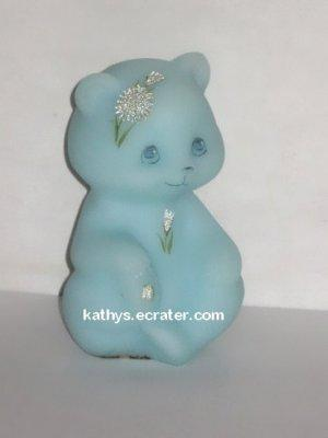 Fenton Blue Custard Glass Pam Miller Bear Animal Figurine