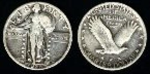 25 cents; Year: 1917-1930; Liberty Standing (variety 2)