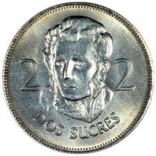 Coins; Obverse of 1968 Ecuadorian 2 Sucres; coins