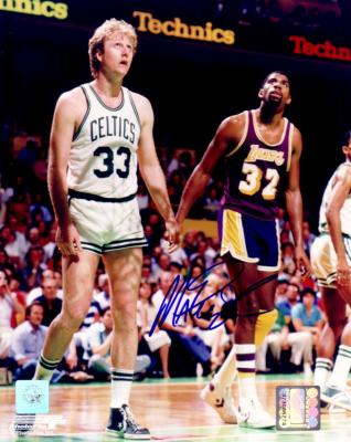 Magic Johnson autographed 8x10 photo with Larry Bird