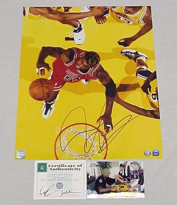 Dennis Rodman autographed Chicago Bulls 16x20 poster size photo (SSG)
