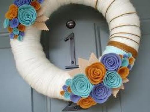 Crafts;  handmade yarn wreaths
