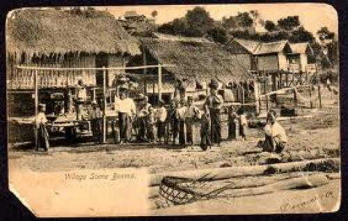 Postcard; Burma Village Scene Early 1900's