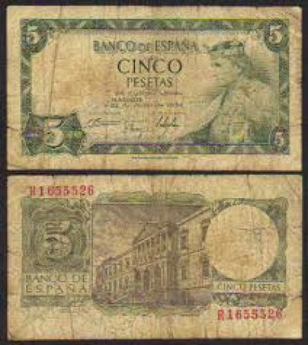Banknotes; 1954 Spain 5 Pesetas