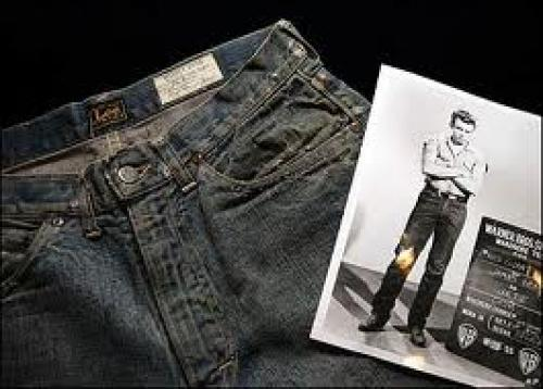 Memorabilia; A pair of jeans James Dean wore in Giant and his white T-shirt from Rebel