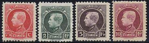 Definitives 4v, King Albert I; Year: 1922
