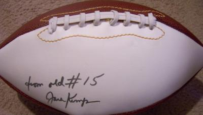 Jack Kemp autographed white panel football inscribed from old #15