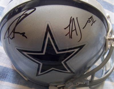 Tony Romo & Felix Jones autographed Dallas Cowboys mini helmet