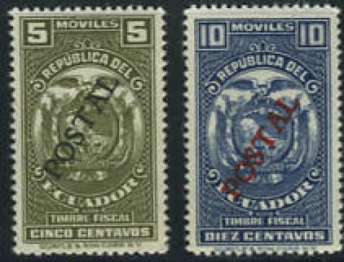 POSTAL overprints 2v; Year: 1937