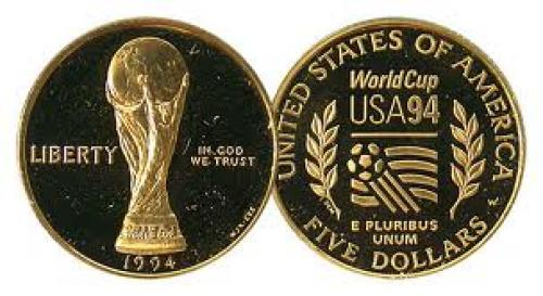 Coins;US coin; 1994-w $5 Modern Commemorative Gold Coins Gem Proof World Cup