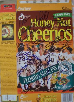 1997 Florida Marlins team autographed World Series Champions cereal box Jeff Conine Gary Sheffield