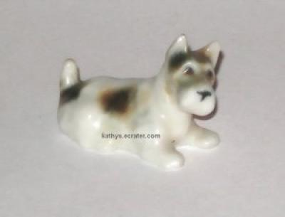 Miniature Porcelain Spotted Terrier Dog Animal Figurine
