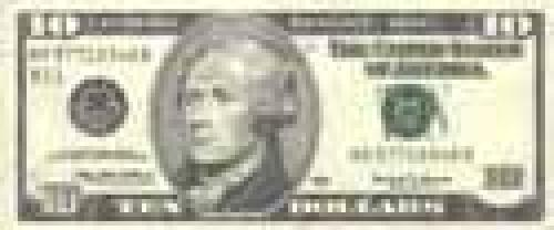 10 Dollars; Issue of 1996-1999; (enlarged portraits)