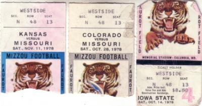 1978 Missouri Tigers lot of 3 ticket stubs (vs Colorado Iowa State Kansas)