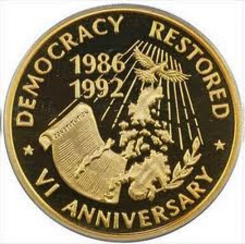 Ten Thousand Pesos Commemorative Gold Coin (1992); Democracy  Restored; Philippine coin