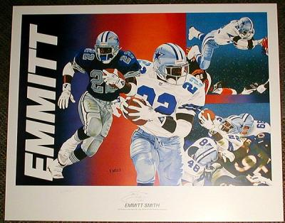 Emmitt Smith autographed Dallas Cowboys 18x25 lithograph ltd edit 750 (Vernon Wells)
