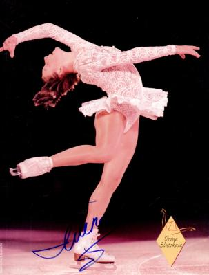 Irina Slutskaia autographed full page magazine figure skating photo