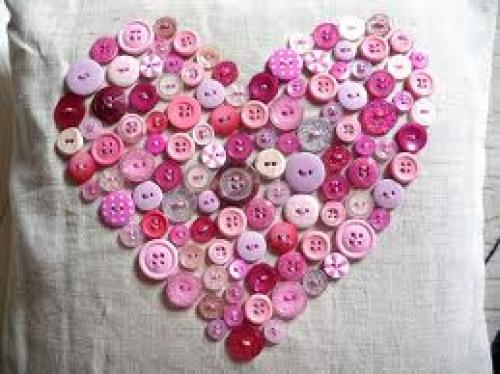 Crafts; Handmade valentines design pillow; Buttons