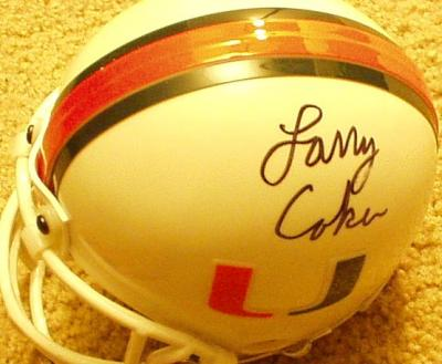 Larry Coker autographed Miami mini helmet inscribed 2001 National Champions