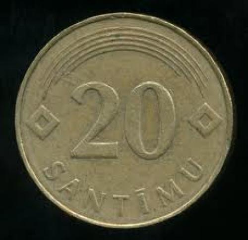Coins; Latvia Twenty Santimu Coin