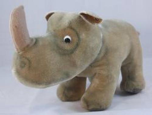 Toys; Steiff Large Nosy Rhinoceros Mohair Stuffed Toy