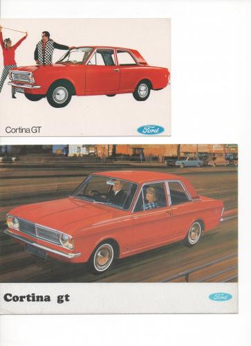 2 postcards FORD CORTINA GT 1967