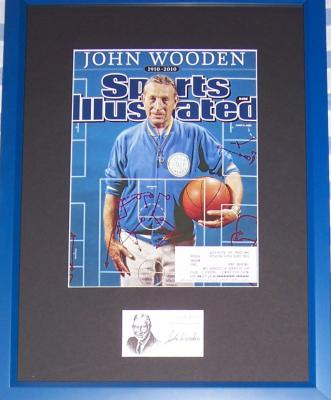 John Wooden autograph framed with UCLA 2010 Sports Illustrated tribute cover