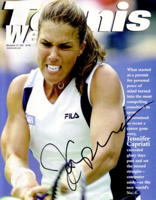 Jennifer Capriati autographed 2001 Tennis Week magazine cover