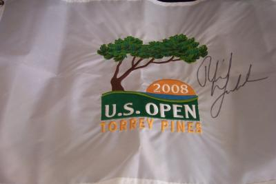 Phil Mickelson autographed 2008 U.S. Open embroidered flag