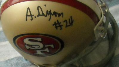 Anthony Dixon autographed San Francisco 49ers mini helmet