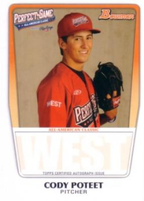 Cody Poteet 2011 Perfect Game Topps Bowman Rookie Card (AFLAC)