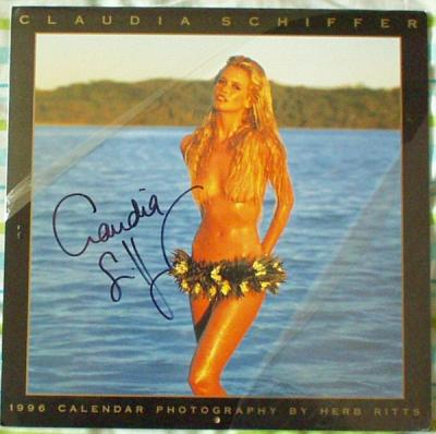 Claudia Schiffer autographed 1996 swimsuit calendar