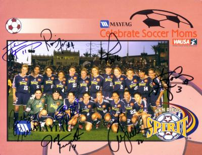 2003 WUSA San Diego Spirit team autographed photo (Joy Fawcett Julie Foudy Shannon MacMillan)