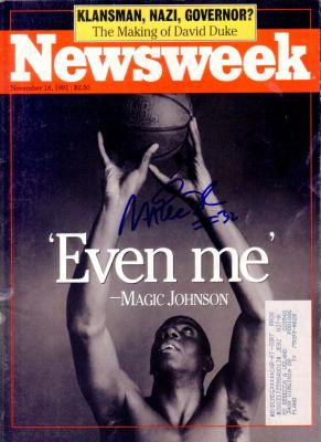 Magic Johnson autographed 1991 Newsweek magazine