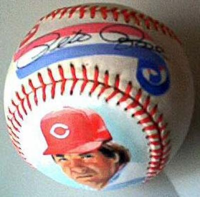 Pete Rose autographed Cincinnati Reds NL baseball painted by Jolene Jessie