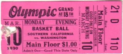 1930 USC vs. Washington college basketball ticket stub