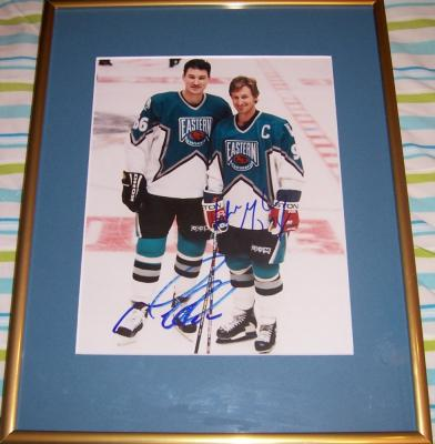 Wayne Gretzky & Mario Lemieux autographed 1997 NHL All-Star Game 8x10 photo framed